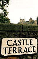 The castle seen from Castle Terrace. Edinburgh. Scotland. UK