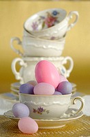Easter eggs and coffee cups