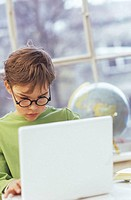 Boy (8-9) using laptop
