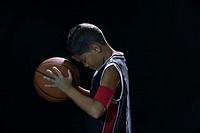 Boy holding basketball