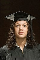 Female graduate looking up (thumbnail)