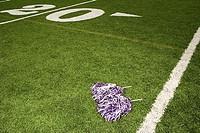 Cheerleading pom-poms on football field