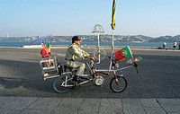 europe, portugal, lisbon, man with bicycle