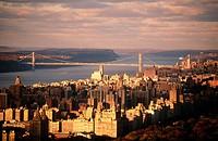West side of Manhattan and George Washington Bridge, New York City. USA