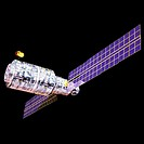 Computer graphic images of space and an artificial satellite, an earth satellite (thumbnail)