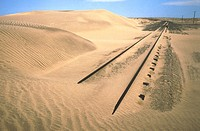 Railway abandoned between Luderitz and Kolmanskop. Namib Desert. Namibia