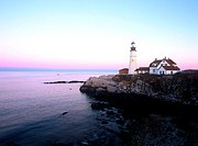 Portland Head Light at sunset. Fort Williams Park. Cape Elizabeth. Maine. USA