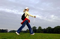 Nordic Walking, woman, go, floors, sticks, meadow, sports, leisure sport, fitness, healthy, nature