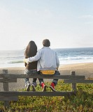 Rear view of couple sitting on fence watching ocean
