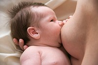Close up of mother breast feeding her baby