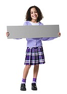 Portrait of a girl holding a blank sign (thumbnail)