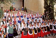 Traditional dances during San Miguel traditional festivities. Graus. Huesca province. Spain