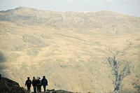 Trekkers hiking up Snowdon, Wales, elevated view