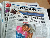 Headline in the 'Daily Nation' newspaper in Nairobi, Kenya