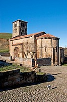 Romanesque Collegiate church of San Pedro en Cervatos. Campoo de Enmedio region. Cantabria. Spain