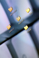 Close-up of computer icons on a visual screen