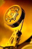 Close-up of a computer hard drive