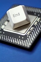 Close-up of a computer key on a computer chip