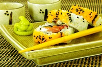 Close-up of sushi on a serving tray