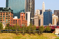 Low angle view of buildings in a city, Chicago, Illinois, USA