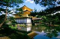Reflection of a temple in water, Golden Pavilion, Kyoto, Japan