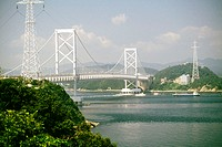 Bridge across the river, Naruto Bridge, Shikoku, Japan