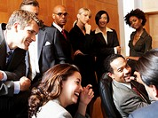 Businessmen and women in meeting, smiling