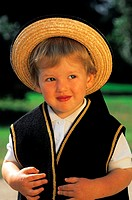 France, Brittany, Boy wearing traditional costume (thumbnail)