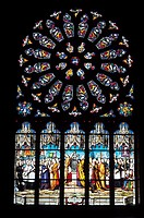 France, Brittany, Fo&#230;lgo&#217;t church, stained-glass window