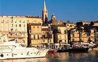 France, Corsica, Calvi, the old town and its harbour