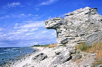 Sweden, Gotland, Hoburgen, Raukar rocks