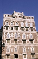 Yemen, Sanaa, house build in adobe