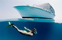 Snorkeling near a yacht, split image, Maldives Island, Indian Ocean, Ari Atoll, Maayafushi