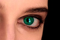 An up-close picture of a beautiful green eye