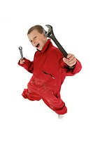 A boy in red mechanic suit holding tools