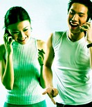Man and woman talking on the handphone
