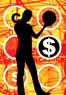 Silhouette of woman holding a ball