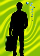 Silhouette of man carrying a briefcase