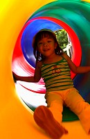 Girl playing with slide
