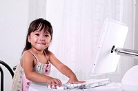 Girl using computer