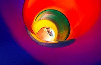 Girl looking at a slide