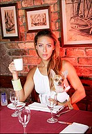 woman, female, fashion, retsaurant, café, drink, drinking, coffee, pet, dog, chihuahua, animal, canine, mammal,