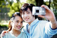 Couple taking their own picture