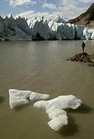 Torres del Paine Natl Park Grey Glacier Chile - w/ hiker & iceberg