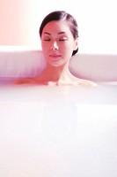 woman relaxing in the bath tub