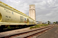 Grain-Freight-Train-&-Grain-Storage-Silo-Oakdale,Wa