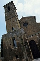 Church and bell tower, Orvieto, Italy, low angle view