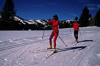 Pair of cross-country skiers, Galena Lodge, Idaho, USA