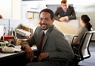 Businessman at desk in office, smiling, portrait