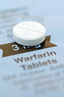 Warfarin, 3mg tablet on a blisterpack. Warfarin is taken to prevent thrombosis, the formation of clots in undamaged blood vessels. Thromboses can caus...